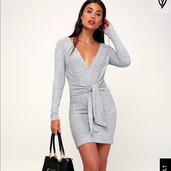 3c7e4fca097 Free People Heathered Tie Front Sweater Dress